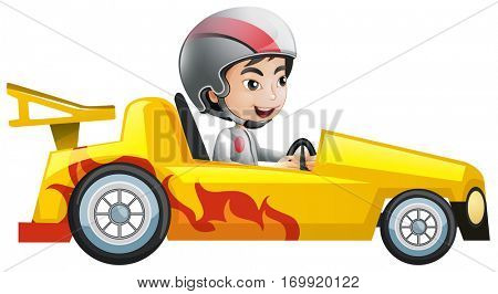 Boy in yellow racing car illustration