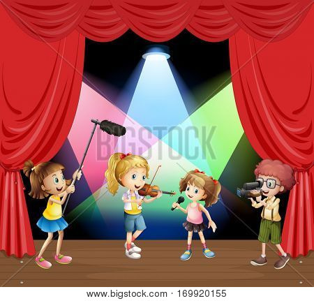 Kids performaning music on stage illustration