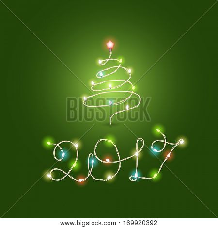 Christmas color garland lettering. Happy new 2017. Vector new year greeting card. 