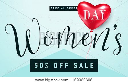 Vector illustration of stylish 8 march womens day sale background with typography lettering text and red heart balloon for banner gift packaging templates