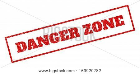 Red rubber seal stamp with Danger Zone text. Vector message inside rectangular banner. Grunge design and dust texture for watermark labels. Inclined sticker.