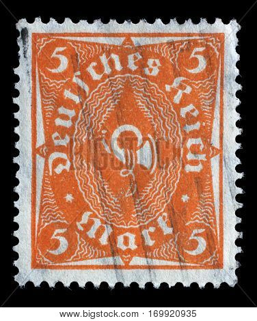 ZAGREB, CROATIA - JUNE 22: A stamp printed in Germany shows a posthorn, circa 1922, on June 22,2014, Zagreb, Croatia