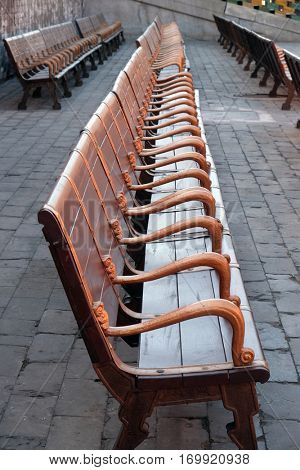BEIJING - FEBRUARY 23: Bench in imperial palace in Forbidden City, Beijing, China, February 23, 2016.