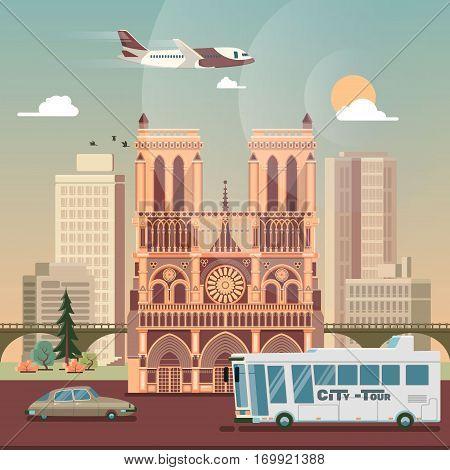 Paris. Business travel and tourism concept with historic building