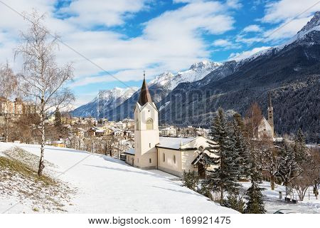Scuol in winter, Switzerland