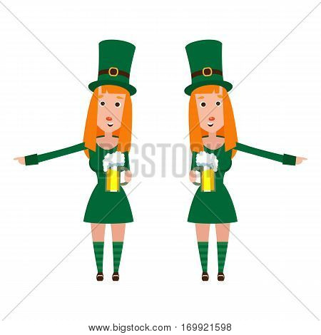 Girl St. Patrick's cartoon. A woman with red hair in a emerald dress. Cheerful man with a mug of foamy beer.