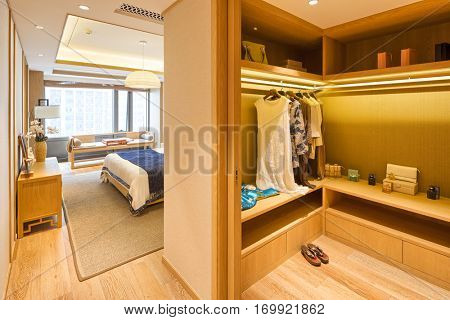 decoration and design of modern bedroom with wardrobe
