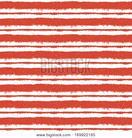 Seamless ink hand drawn stripe texture on white background. Orange trendy color endless pattern.