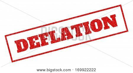 Red rubber seal stamp with Deflation text. Vector caption inside rectangular shape. Grunge design and dirty texture for watermark labels. Inclined sign.