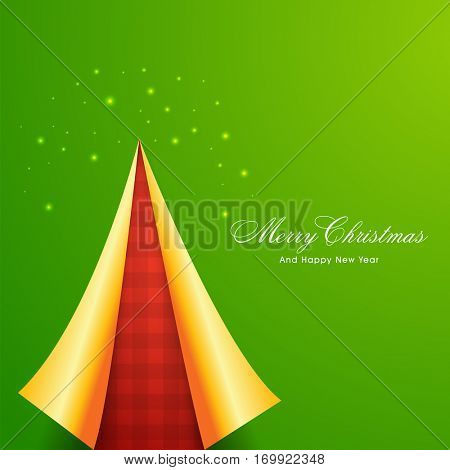 Creative Paper Xmas Tree design on green background, Beautiful Poster, Banner or Flyer for Merry Christmas and Happy New Year celebration.