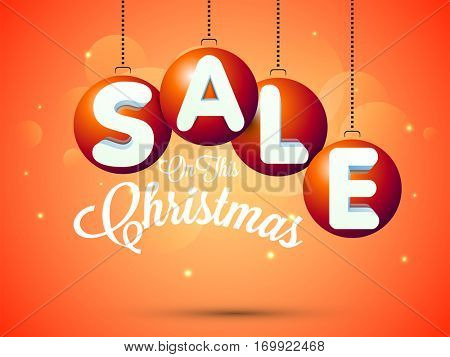 Christmas Sale Poster, Banner or Flyer design decorated with hanging xmas balls.