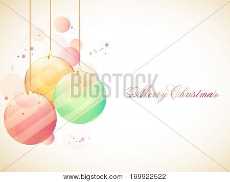 Merry Christmas Party celebration Poster, Banner or Flyer design with glossy colorful Xmas Balls decoration.