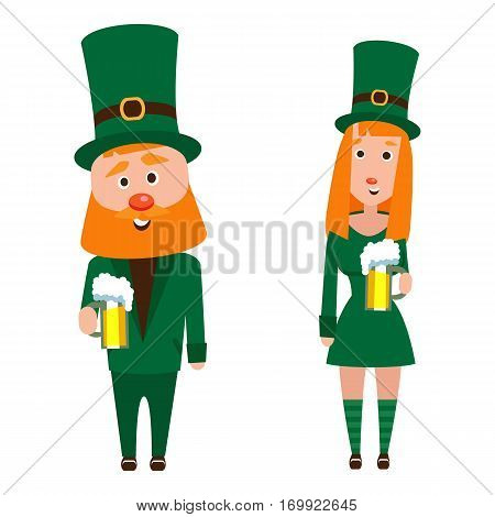 St. Patrick and the girl. Cartoon character. A man with a red beard and a woman with red hair in an emerald suit. Cheerful young people with a mug of foamy beer.