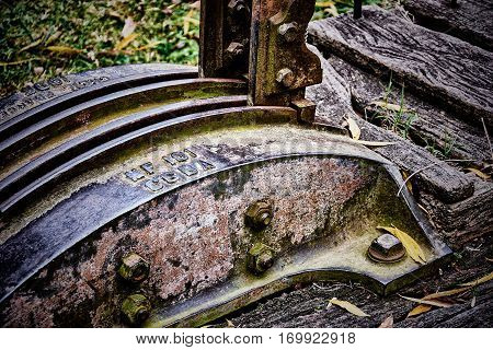 GOUIN BUENOS AIRES ARGENTINA - MAY 27 2016: A very old an abandoned shunting mechanism in the station of Gouin Buenos Aires Argentina.