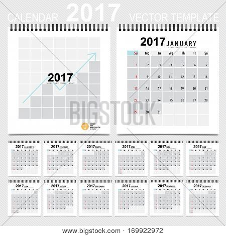 2017 Calendar planner, vector design template. Set of 12 months. Week starts Sunday