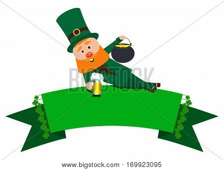 Festive Ribbon with clover and St. Patrick. The man with the red beard is the banner. Cheerful man in the green suit with a mug of foamy beer and a pot of gold.