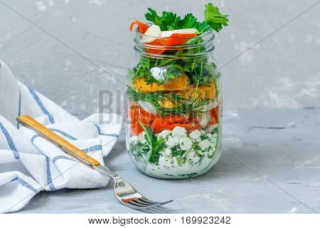 Healthy take-away lunch jar with salmon cottage cheese croutons. Love for a healthy vegan food concept