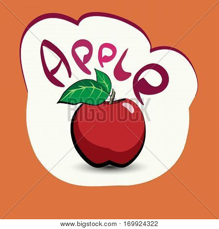 Apple with the title on the label. Sticker with eco product and its name. A beautiful illustration of a tropical fruit. Food in a cartoon style.