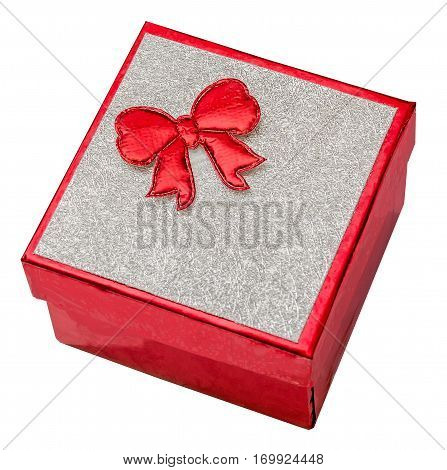 Red Gift Box With Shinny Silver Cover And Red Bow, Close Up, Isolated