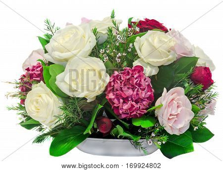 Floral Arrangement, Bouquet, With White, Pink, Yellow Roses And Purple Hortensia, Hydrangea, Close U
