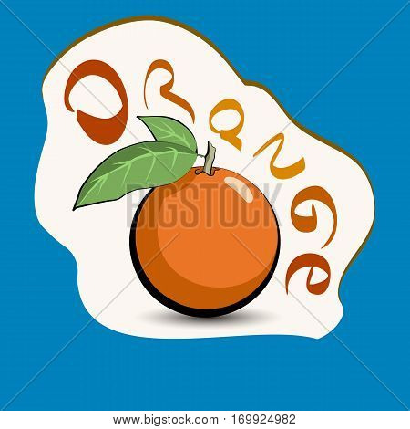 Orange with the title on the label. Sticker with eco product and its name. A beautiful illustration of a tropical fruit. Food in a cartoon style.