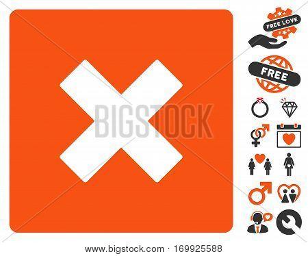 Close pictograph with bonus romantic design elements. Vector illustration style is flat iconic symbols for web design app user interfaces.