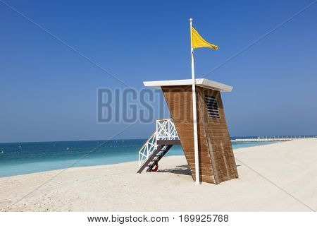 Lifeguard station tower at the Umm Suqeim public beach in Dubai. United Arab Emirates Middle East