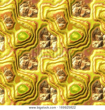 Abstract seamless 3d relief pattern of gold, orange and green layered polygonal stones and gemstones. Yellow and orange layered rock with crystals