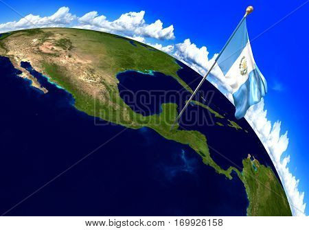 Guatemala national flag marking the country location on world map. 3D rendering, parts of this image furnished by NASA