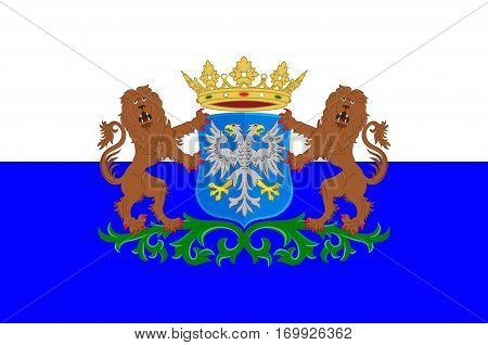 Flag of Arnhem is a city and municipality situated in the eastern part of the Netherlands. Vector illustration
