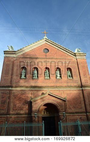 An external view of a brick church building in Copenhagen