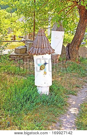Antique beehives at historical and Cultural Reserve