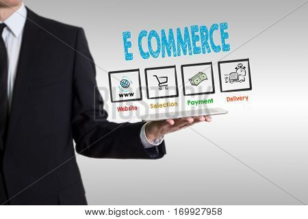E commerce concept, young man holding a tablet computer.