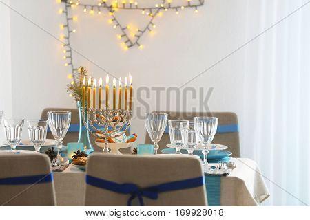 Interior of beautiful living room decorated for Hanukkah