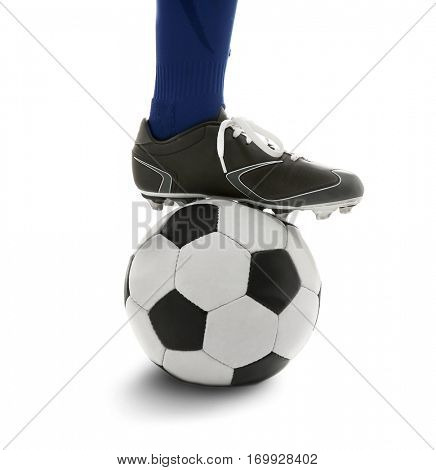 Male leg with soccer ball on white background, closeup