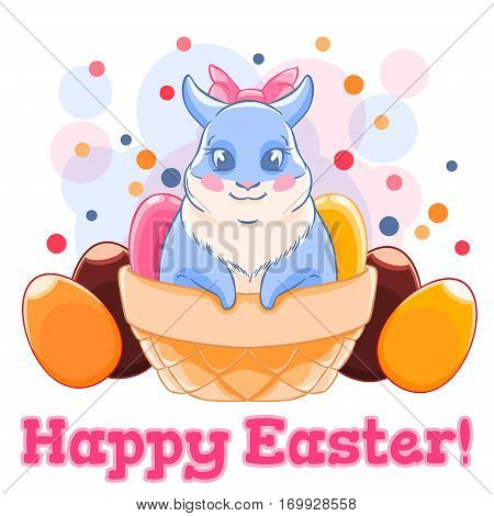 Cute Easter Bunny in basket with sweets and chocolate eggs. Confetti. Spring holiday. Vector illustration isolated on white background. T-shirt print. Greeting card.