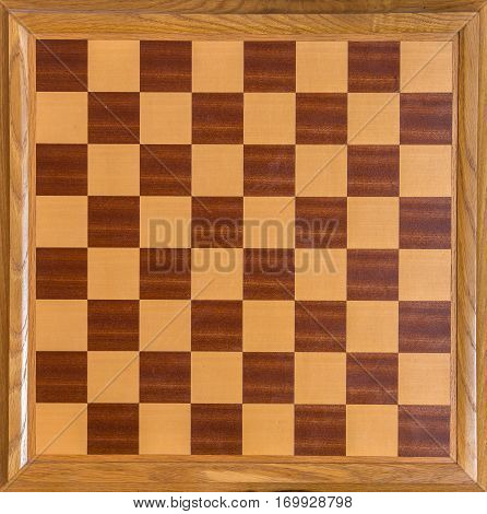 Top View Of Wooden Oak Chess Board