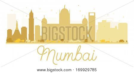 Mumbai City skyline golden silhouette. Vector illustration. Simple flat concept for tourism presentation, banner, placard or web site. Business travel concept. Cityscape with landmarks.