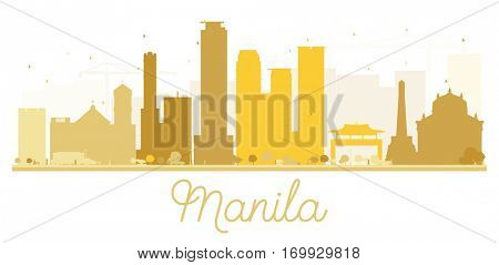 Manila City skyline golden silhouette. Vector illustration. Simple flat concept for tourism presentation, banner, placard or web site. Business travel concept. Cityscape with landmarks.