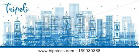 Outline Tripoli Skyline with Blue Buildings. Business Travel and Tourism Concept with Historic Buildings. Image for Presentation Banner Placard and Web.