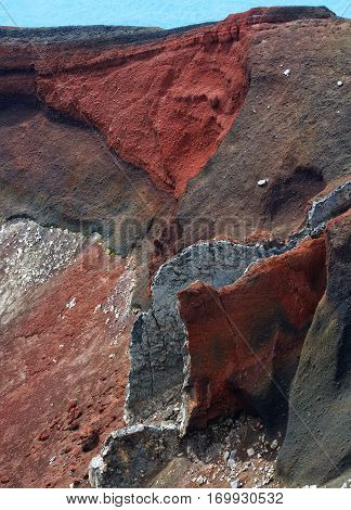 Red crater, Tongariro, New-Zealand, fragment photo of Earth. Red Crater close up, New Zealand