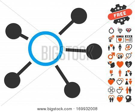 Connections pictograph with bonus love design elements. Vector illustration style is flat iconic symbols for web design app user interfaces.