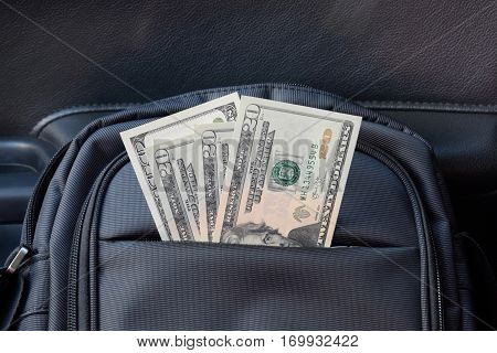 Dollars In The Pocket Of The Bag. American Money