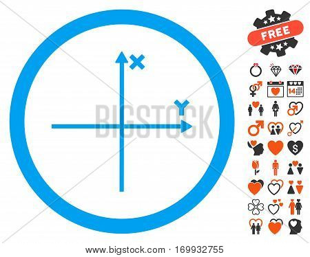 Coordinate Axis pictograph with bonus marriage symbols. Vector illustration style is flat iconic symbols for web design app user interfaces.