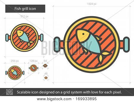 Fish grill vector line icon isolated on white background. Fish grill line icon for infographic, website or app. Scalable icon designed on a grid system.