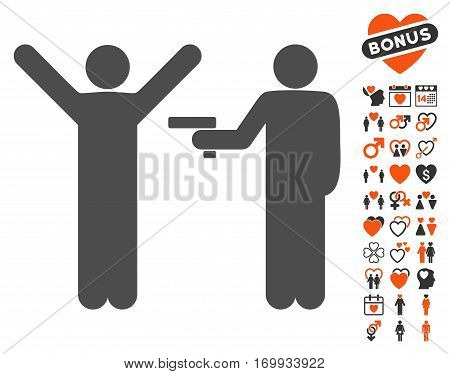 Crime Robbery icon with bonus amour pictograph collection. Vector illustration style is flat iconic symbols for web design app user interfaces.