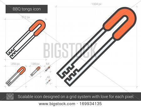 BBQ tongs vector line icon isolated on white background. BBQ tongs line icon for infographic, website or app. Scalable icon designed on a grid system.