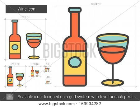 Wine vector line icon isolated on white background. Wine line icon for infographic, website or app. Scalable icon designed on a grid system.
