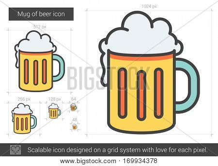 Mug of beer vector line icon isolated on white background. Mug of beer line icon for infographic, website or app. Scalable icon designed on a grid system.
