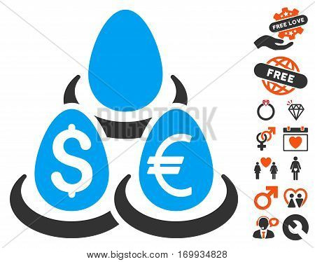 Currency Deposit Diversification icon with bonus dating clip art. Vector illustration style is flat iconic elements for web design app user interfaces.